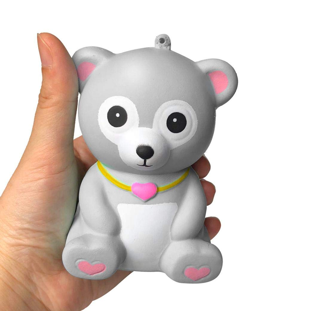 Ankola Adorable Bear Squies Slow Rising Cream Scented Squishy Squeeze Toys, Kids Gift, Decompression Toy (3.94'', Gray)