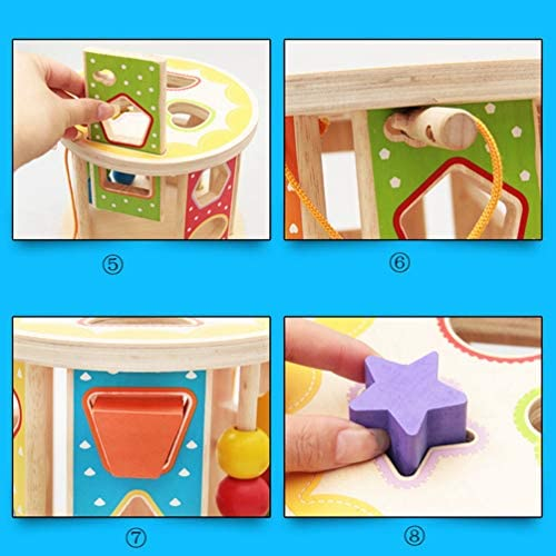積み木ボックス 木製玩具 赤ちゃん 型はめ はめこみ キッズ ベビー 子供用 ブロック 木のおもちゃ マッチング 幾何認知 図形認知 幼児用 誕生日 立体パズル 可愛い カラフル 脳活性化 13穴 1歳/2歳/3歳