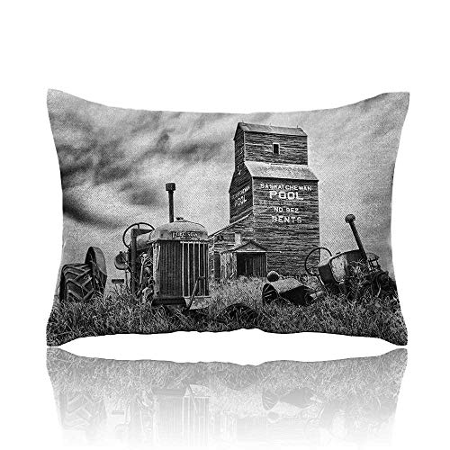 Anyangeight Industrial Cars Pillowcase Old 60s Abandoned Tractor in Farm in Central Canada Nostalgic Machinery Elements Image Youth Pillowcase 16