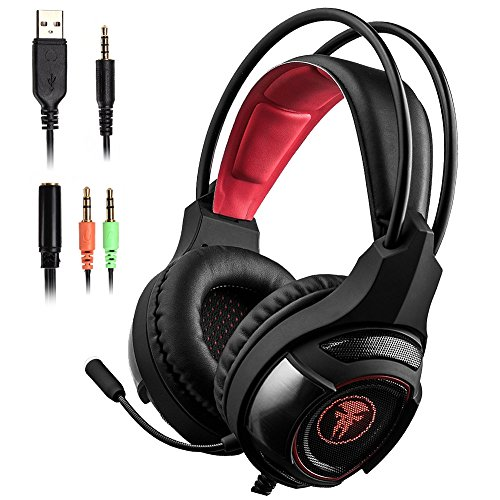 NPET S021 3.5mm Wired Gaming Headset, Noise Cancelling Over Ear Headphones with 360° Retractable Microphone and Chroma Lighting for PS4, Xbox one, Laptop, ipad, phone, PC, Computers