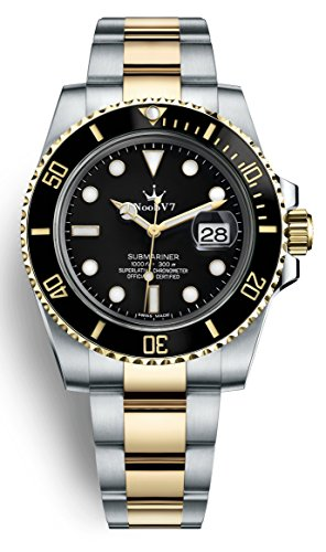 Swiss REP V7 Crown Iconic Sub Date Automatic Watch Sapphire 316L Stainless Steel Gold Two Tone Black Dial Ceramic Bezel (Black Dial Sapphire Swiss)