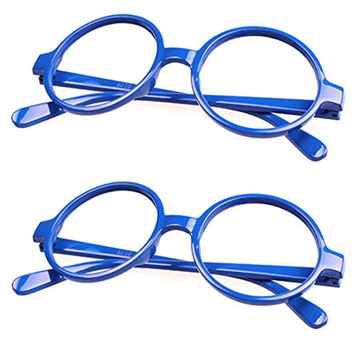 FancyG Retro Geek Nerd Style Round Shape Glass Frame NO LENSES Costume Eyewear 2 Pieces Set - Blue x - Round Glasses Blue
