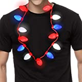 5 Pack Red White Blue Color Light Up Necklace USA Holiday Political Party Favor Decor