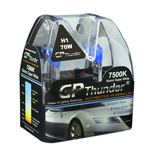 GP Thunder GP75-H1 7500K H1 12V 70W Halogen Xenon Super White Color W/QUAZE Glass (2 Bulbs)