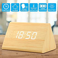 Oct17 Wooden Wood Clock, 2018 New Version LED Alarm Digital Desk Clock 3 Levels Adjustable Brightness, 3 Groups of Alarm Time, Displays Time Date Temperature - Bamboo (White Light)