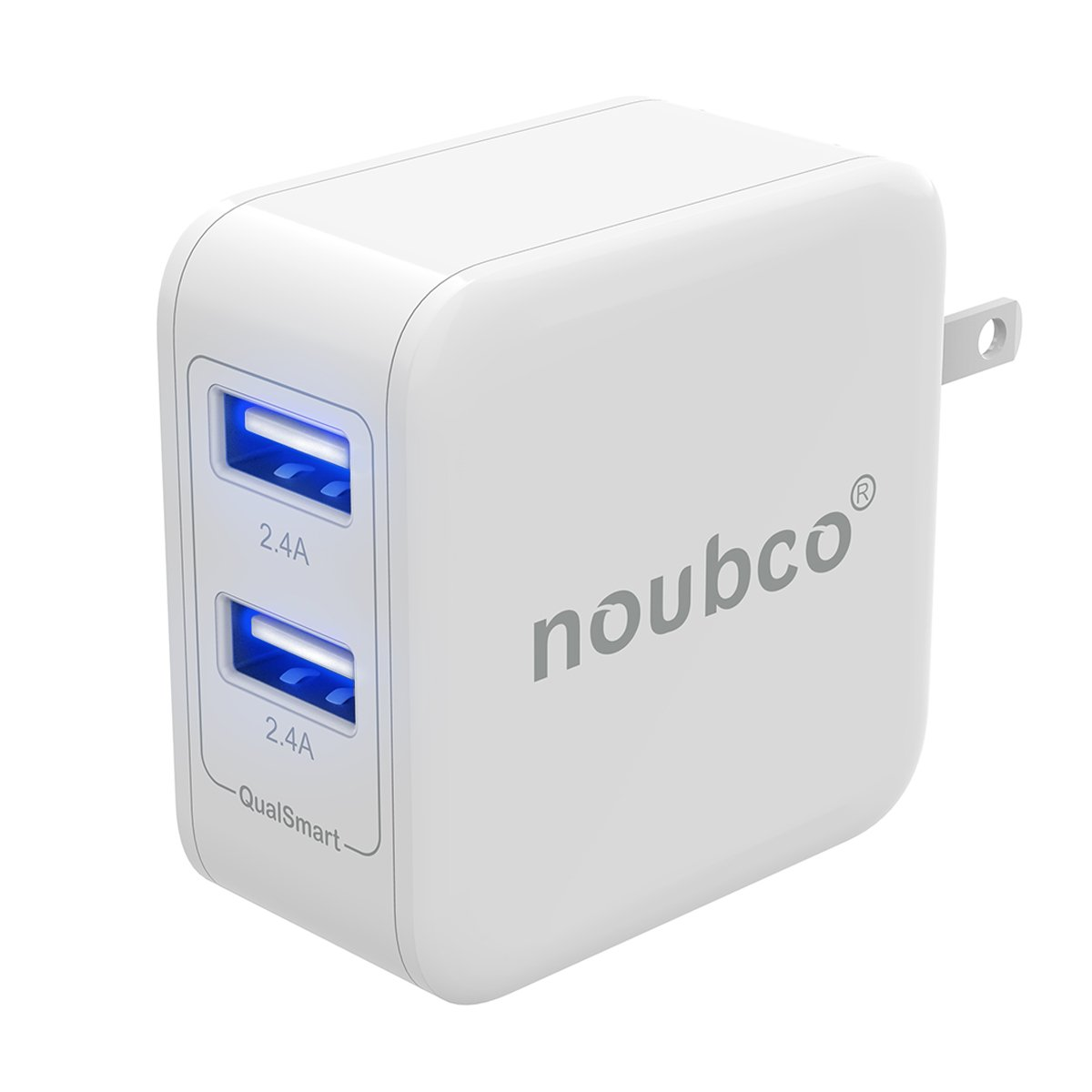 Noubco Wall Charger | 4.8A 24W Dual USB Port AC Charging Block Foldable Plug | Compatible iPhone, iPad, iPod Other OEM Apple Devices - Black QS24W2PBB