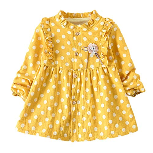 Kehen Kid Cotton Long Sleeves Dress Button Coat Princess Dresess Infant Toddler Girls Winter Spring Clothes Yellow 12-18 Months]()