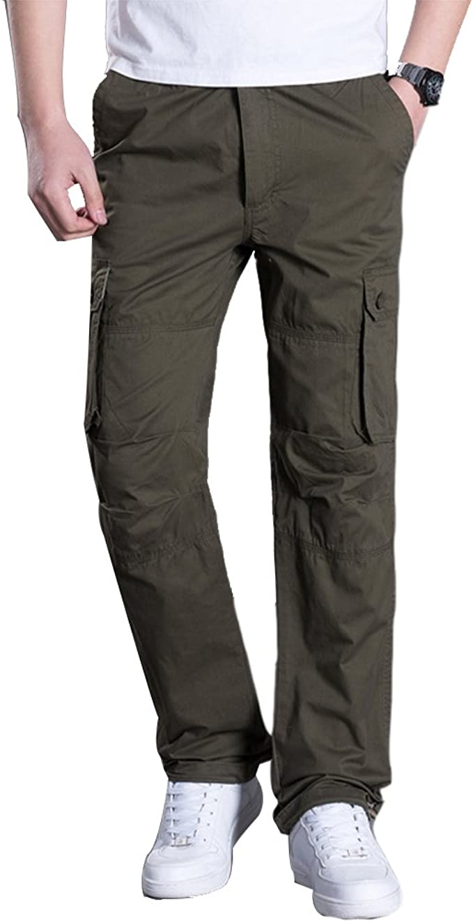 LINGMIN Mens Casual Twill Chino Pants Slim Fit Solid Color Outdoor Work Cargo Pants