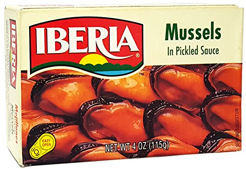 Mussels in Pickled Sauce, 4 oz, (Pack of 12) by Iberia