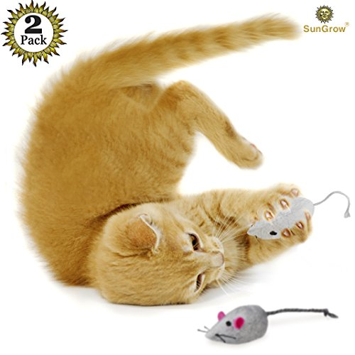 2 Mice toys for cats — Rattling sound thrills, promotes ...