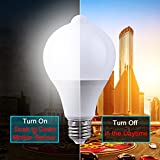 Motion Sensor Bulb Led E27 PIR Infrared Dusk to Dawn LED Light Bulb Detection Light, Auto Switch Night Lights for Porch Patio Garage Stairs Lobby Carport Hallway Security (9w 810LM Natural White)