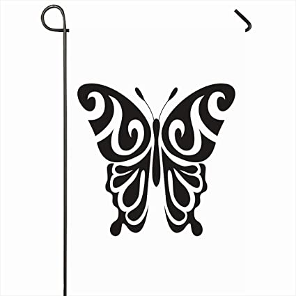 "84f81b987 Ahawoso Outdoor Garden Flags 12""x18"" Inch Abstract Outline  Graphic Butterfly Tattoo Nature Black"