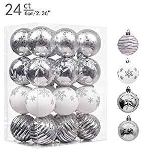 Valery Madelyn 24ct 60mm Frozen Winter Silver White Shatterproof Christmas Ball Ornaments Decoration,Themed with Tree…