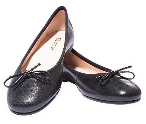 Guoar Womens Bowknot Round Toe Comfort Ballet Flats Shoes Casual Low Heels Pumps Black skjvhn