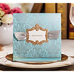 WISHMADE 20pcs Invitation Cards Elegant Blue with Ribbon for Engagement, Baby Shower, Wedding,Birthday Party with Envelopes,Stickers