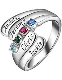 ''My Creation'' Mother Sterling Silver 4 CZ Birthstone Personalized Engraved Name Band Wrapped Custom Ring