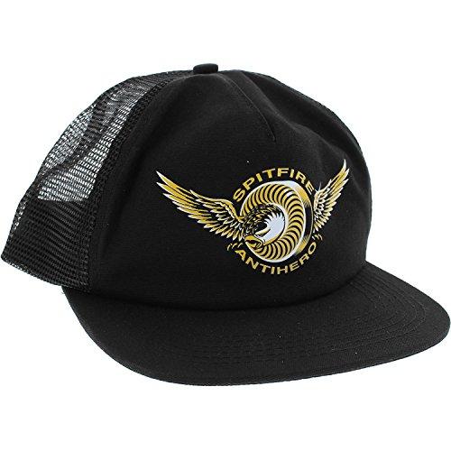 Spitfire Wheels x Anti Hero Classic Eagle Black Mesh Trucker Hat - Adjustable