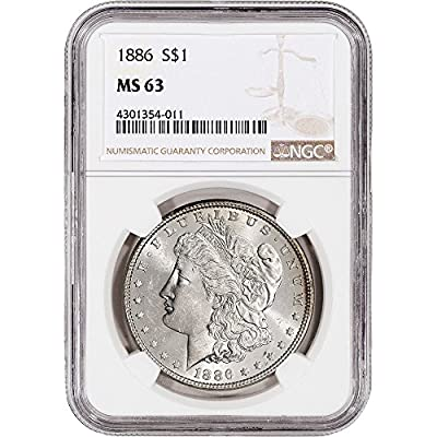 1886 US Morgan Silver Dollar $1 MS63 NGC