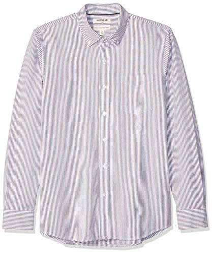 Goodthreads Men's Standard-Fit Long-Sleeve Plaid Oxford Shirt, Blue Red Narrow Stripe ()