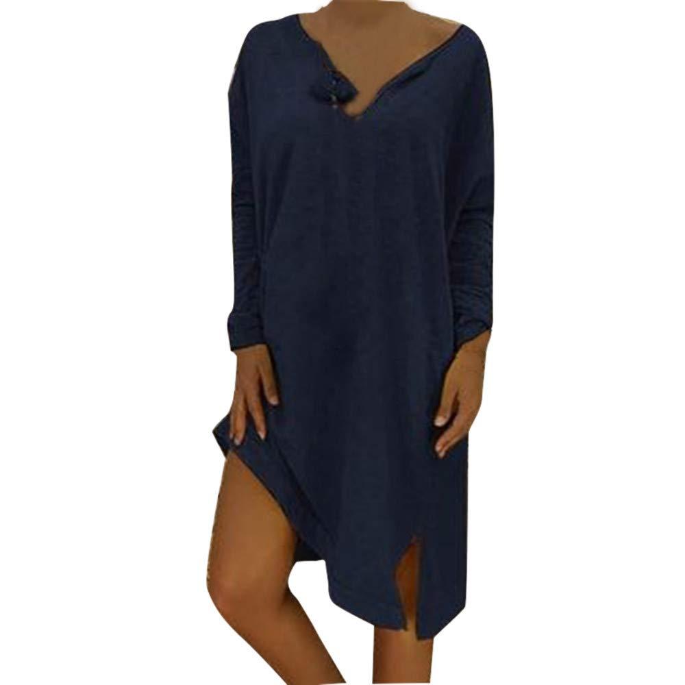 AMSKY Sunflower Dress,Women Plus Size V-Neck Loose Casual Solid Long Sleeve T-Shirt Dress,Handbags & Wallets,Navy,XXL
