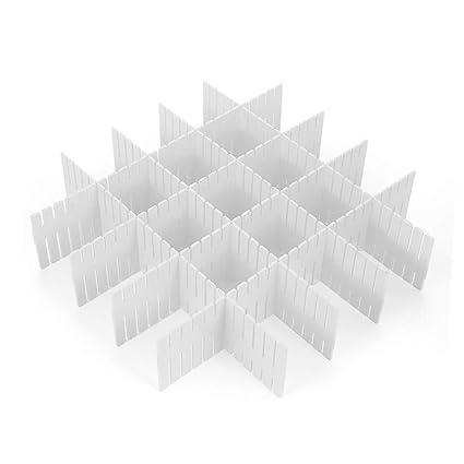 Wefond 8pcs DIY Organizador de plástico del cajón divisores ajustables del cajón para el armario ordenado