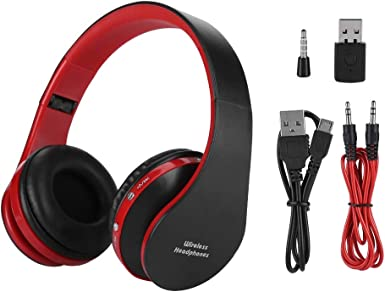 Amazon Com Hifi Sound Bluetooth Headset 12 Hour Calling 10 Hour Music Headphone Gaming For Ps4 Black Red Clothing