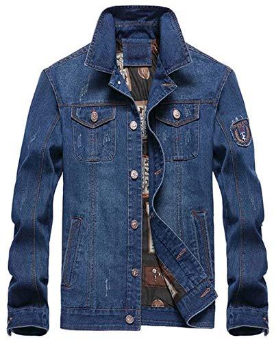 navy navy navy Jeans Semplice con Maniche Stile Giacche da di di di di di Cappotto Risvolto Blu di Uomo 1 Jeans Jeans Capispalla Classica Cappotto Giacca Lunghe 4wqz11