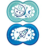 MAM Silicone Night Pacifier, Boy, Glows in The Dark, 6 Plus Months, 2-Count, (For Boy)