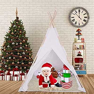 FIN86 Kids Teepee Tent,Kids Foldable Play Tent for Indoor Outdoor, Raw White Canvas Teepee - Kids Playhouse - Portable Kids Tent (White): Sports & Outdoors