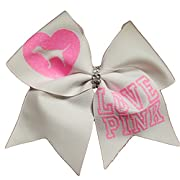 Cheer bows White Glittery LOVE PINK Bling Hair Bow