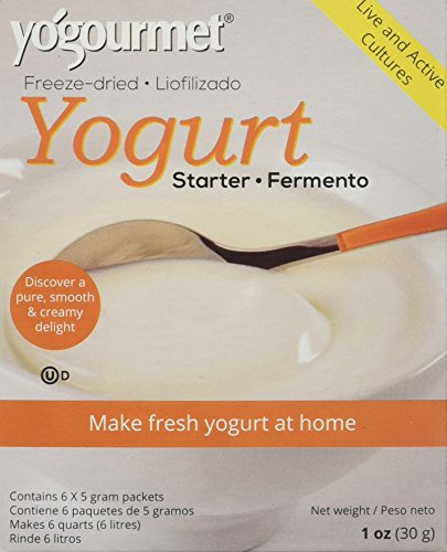 Creamy Goat Cheese - Yo Gourmet Freeze Dried Yogurt Starter - 1 Box Containing 6 Each 5 Gram Packets