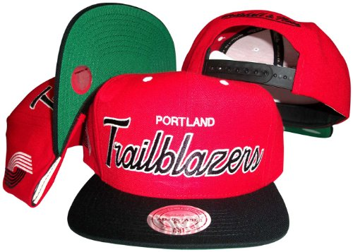 Portland Trailblazers Script Red/Black Two Tone Adjustable Snapback Hat / Cap