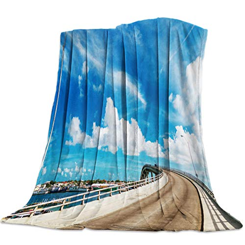 OUR WINGS Flannel Fleece Bed Blanket,Warm and Soft,Girls/Boys Blanket for Camping,Picnic,Beach,Bridge Street Lamp Blue Sky White Clouds Beautiful Town Scenery of Omaha (40 x 50 Inches)