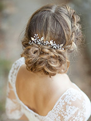 Unicra Bridal Silver Color Wedding Bridal Hair Pin Decorative pearl(Pack of two)