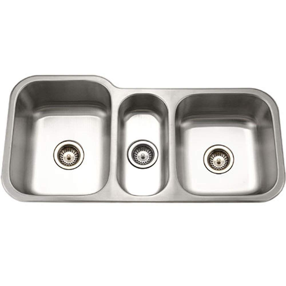 Houzer MGT-4120-1 Medallion Gourmet Series Undermount Stainless Steel Triple Bowl Kitchen Sink (Renewed) by HOUZER