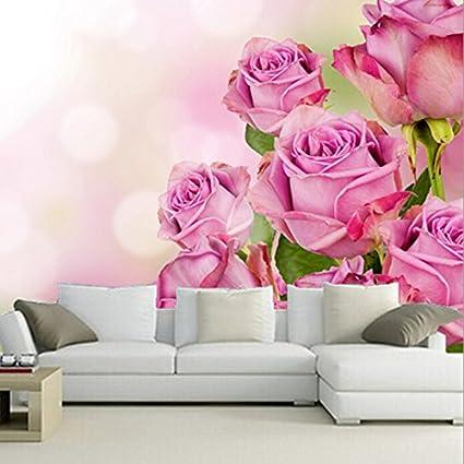 Malilove Custom 3d Muralesbellissimo Colore Rosa Rose Fiori Sfondi