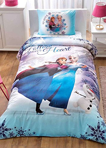 100% Turkish Cotton 3 Pcs Frozen Duvet Cover Bedding Set Twin Size (Frozen Elsa Olaf)