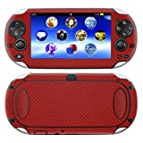 Decalrus - PlayStation PSP Vita RED Carbon Fiber skin skins decal for case cover wrap CFvitaRed