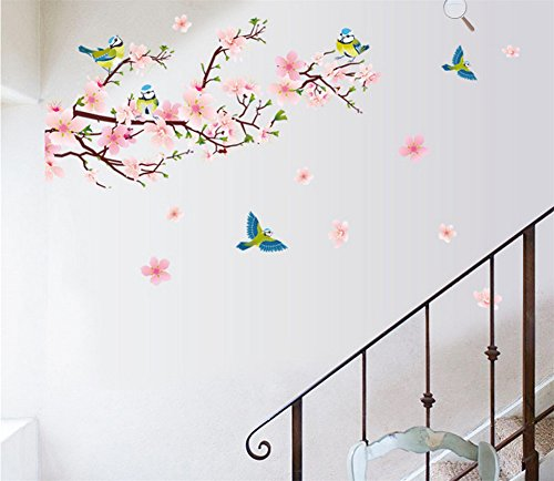 BIBITIME Japanese Cherry Blossom Tree Wall Decor 5 Birds Wall Decal Nursery Girl Flower Wall Sticker for Living Room Bedroom Sakura Wall Art Murals,DIY Size: 55.12 27.56 IN