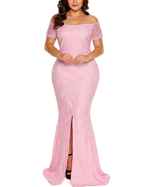 GUOCU Vestidos de Noche Largos Tallas Grandes Vestidos sin Hombros Vestido de Encaje Split Rosado XL