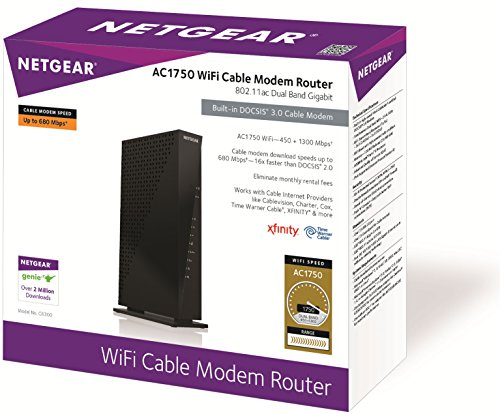NETGEAR AC1750 (16x4) Wi-Fi Cable Modem Router (C6300) DOCSIS 3.0  Certified for...