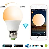 LED Smart Bulb,WiFi Light Bulb,Warm White to Cool White,Dimmable,No Hub Required, 65W Equivalent, Works with Amazon Echo Alexa and Google Home Assistant,2700K-6500K,500lm,CE/FCC/UL Listed For Sale