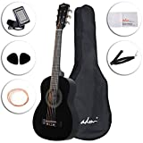 ADM Beginner Classical Guitar 30 Inch Nylon Strings Bundle with Carrying Bag & Accessories, Black Gloss