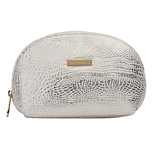 Sept Miracle Women Large Capacity Cosmetic Bag PU Make up Bag for Traveling (silver)