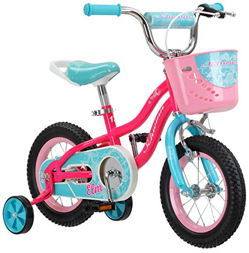 Schwinn Elm Girl's Sidewalk Bike with Training Wheels, Saddle Handle, Chainguard, and Front Basket, 12-Inch Wheels, Pink, Featuring SmartStart Technology - Designed to Fit Children's Proportions