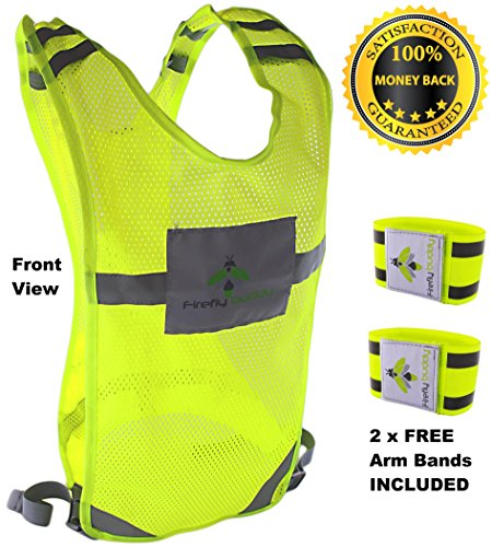 FIREFLY BUDDY Reflective Running Vest, High Visibility Cycling Gear, Adjustable Walking Buddy with Back Pocket. Free set of Elastic Arm Bands Included