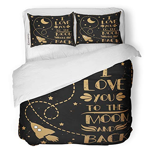Emvency Decor Duvet Cover Set Full/Queen Size Valentine's Day I Love You to The Moon and Back Romantic Quote for Save Date 3 Piece Brushed Microfiber Fabric Print Bedding Set Cover]()