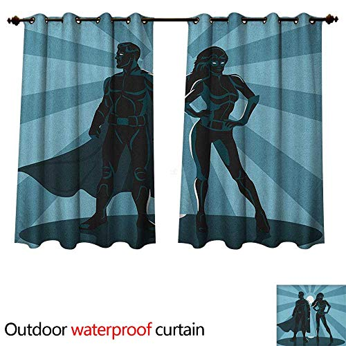 Anshesix Superhero Outdoor Balcony Privacy Curtain Man and Woman Superheroes Costume with Masks Capes Night Protector in Moonlight W108 x L72(274cm x 183cm) -
