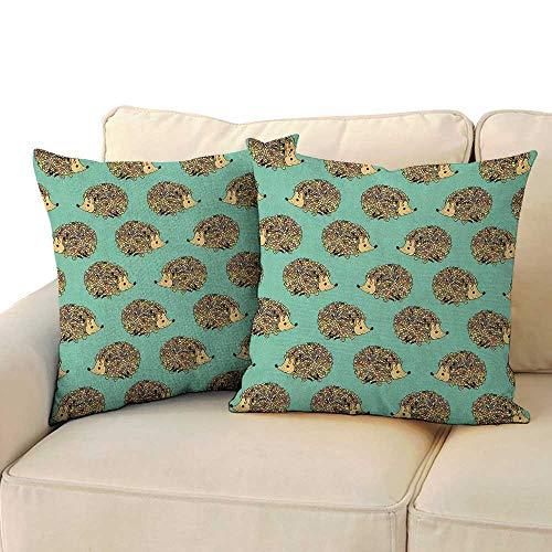 Opus Queen Bed - Ediyuneth Pillowcases Queen Size Hedgehog,Abstract Animal Design Cartoon Style Cute Creatures Funny Faces Friendly, Sea Green Multicolor 18