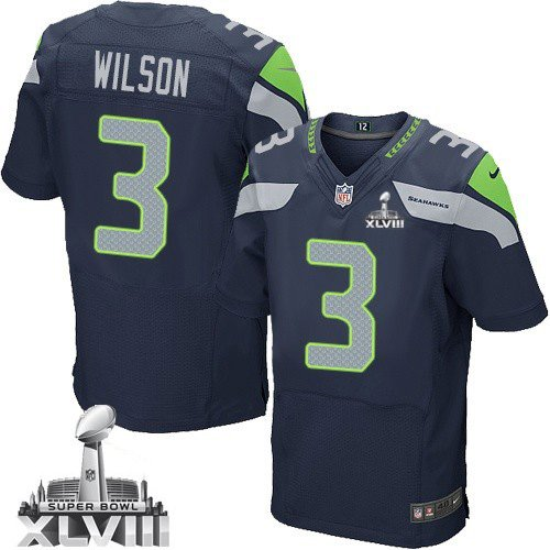Russell Wilson Seattle Seahawks NFL Blue Game Jersey Adult (Medium)